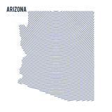 Vector abstract hatched map of of State of Arizona with curve lines isolated on a white background. Travel vector illustration royalty free illustration