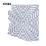 Vector abstract hatched map of State of Arizona with spiral lines isolated on a white background. Royalty Free Stock Photo
