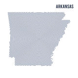 Vector abstract hatched map of State of Arkansas with spiral lines isolated on a white background. Stock Images