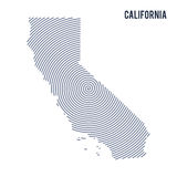 Vector abstract hatched map of State of California with spiral lines isolated on a white background. Royalty Free Stock Photos