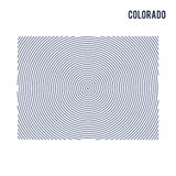 Vector abstract hatched map of State of Colorado with spiral lines isolated on a white background. Stock Photos