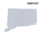 Vector abstract hatched map of State of Connecticut with vertical lines isolated on a white background. Travel vector illustration Royalty Free Stock Photos