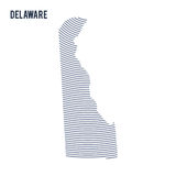 Vector abstract hatched map of of State of Delaware with curve lines isolated on a white background. Travel illustration stock illustration
