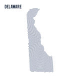 Vector abstract hatched map of State of Delaware with spiral lines isolated on a white background. Royalty Free Stock Photography