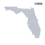 Vector abstract hatched map of State of Florida with spiral lines isolated on a white background. Stock Photos