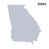 Vector abstract hatched map of State of Georgia with spiral lines isolated on a white background. Royalty Free Stock Photo