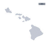 Vector abstract hatched map of of State of Hawaii with curve lines isolated on a white background. Travel illustration vector illustration
