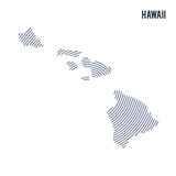 Vector abstract hatched map of State of Hawaii with spiral lines isolated on a white background. Stock Images