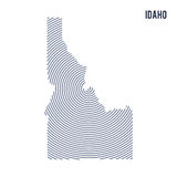 Vector abstract hatched map of State of Idaho with spiral lines isolated on a white background. Stock Photography
