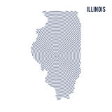 Vector abstract hatched map of State of Illinois with spiral lines isolated on a white background. Stock Image