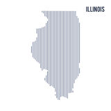 Vector abstract hatched map of State of Illinois with vertical lines isolated on a white background. Travel vector illustration Stock Photography