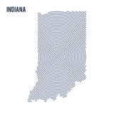 Vector abstract hatched map of State of Indiana with spiral lines isolated on a white background. Stock Photo