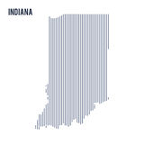 Vector abstract hatched map of State of Indiana with vertical lines isolated on a white background. Travel vector illustration Royalty Free Stock Photography