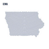 Vector abstract hatched map of of State of Iowa with curve lines isolated on a white background. Travel illustration vector illustration
