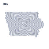 Vector abstract hatched map of State of Iowa with spiral lines isolated on a white background. Stock Photography