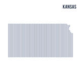 Vector abstract hatched map of State of Kansas with vertical lines isolated on a white background. Travel vector illustration Stock Photography