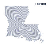 Vector abstract hatched map of State of Louisiana with spiral lines isolated on a white background. Stock Image