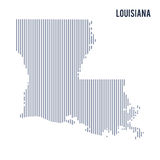 Vector abstract hatched map of State of Louisiana with vertical lines isolated on a white background. Travel vector illustration Stock Photo