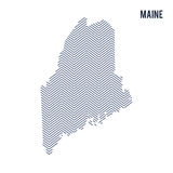 Vector abstract hatched map of State of Maine isolated on a white background. Stock Image