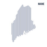 Vector abstract hatched map of State of Maine with vertical lines isolated on a white background. Travel vector illustration Royalty Free Stock Photography