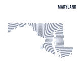 Vector abstract hatched map of State of Maryland with spiral lines isolated on a white background. Royalty Free Stock Images