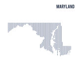 Vector abstract hatched map of State of Maryland with vertical lines isolated on a white background. Travel vector illustration Stock Photography