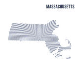 Vector abstract hatched map of State of Massachusetts with spiral lines isolated on a white background. Stock Images