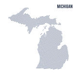 Vector abstract hatched map of of State of Michigan with curve lines isolated on a white background. Travel illustration royalty free illustration