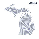 Vector abstract hatched map of State of Michigan with spiral lines isolated on a white background. Stock Photo