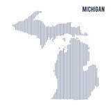 Vector abstract hatched map of State of Michigan with vertical lines isolated on a white background. Travel vector illustration royalty free illustration