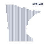 Vector abstract hatched map of State of Minnesota with vertical lines isolated on a white background. Travel vector illustration Stock Photo