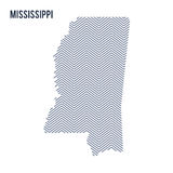 Vector abstract hatched map of State of Mississippi isolated on a white background. Royalty Free Stock Photo