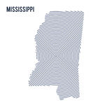 Vector abstract hatched map of State of Mississippi with spiral lines isolated on a white background. Stock Photos