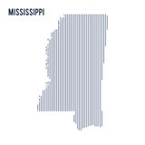 Vector abstract hatched map of State of Mississippi with vertical lines isolated on a white background. Travel vector illustration Royalty Free Stock Image