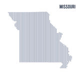 Vector abstract hatched map of State of Missouri with vertical lines isolated on a white background. Travel vector illustration Stock Images