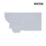 Vector abstract hatched map of of State of Montana with curve lines isolated on a white background. Travel vector illustration stock illustration
