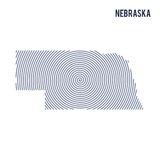 Vector abstract hatched map of State of Nebraska with spiral lines isolated on a white background. Stock Images