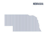 Vector abstract hatched map of State of Nebraska with vertical lines isolated on a white background. Travel vector illustration vector illustration