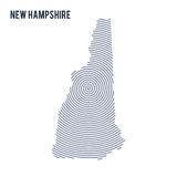 Vector abstract hatched map of State of New Hampshire with spiral lines isolated on a white background. Stock Photography