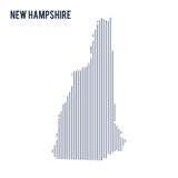 Vector abstract hatched map of State of New Hampshire with vertical lines isolated on a white background. Travel vector illustration stock illustration
