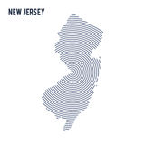 Vector abstract hatched map of State of New Jersey with spiral lines isolated on a white background. Royalty Free Stock Photo