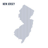 Vector abstract hatched map of State of New Jersey with vertical lines isolated on a white background. Travel vector illustration stock illustration