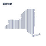 Vector abstract hatched map of State of New York with vertical lines isolated on a white background. Travel vector illustration vector illustration