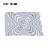 Vector abstract hatched map of State of North Dakota with spiral lines isolated on a white background. Royalty Free Stock Photography