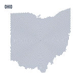 Vector abstract hatched map of State of Ohio with spiral lines isolated on a white background. Stock Photos