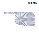 Vector abstract hatched map of State of Oklahoma with spiral lines isolated on a white background. Stock Image