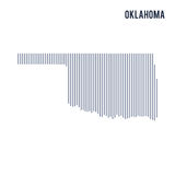 Vector abstract hatched map of State of Oklahoma with vertical lines isolated on a white background. Travel vector illustration stock illustration