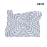 Vector abstract hatched map of State of Oregon with spiral lines isolated on a white background. Royalty Free Stock Photos