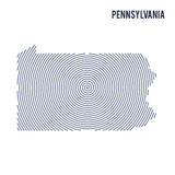 Vector abstract hatched map of State of Pennsylvania with spiral lines isolated on a white background. Stock Photo