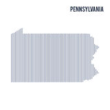 Vector abstract hatched map of State of Pennsylvania with vertical lines isolated on a white background. Travel vector illustration royalty free illustration